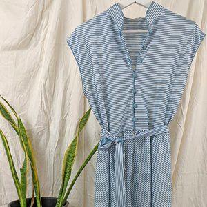 1970s Vintage Blue & White Pinstripe Dress Size S
